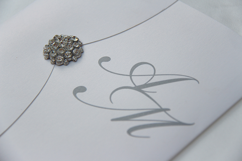 Bespoke Silver Brooch Wedding Invitation-2
