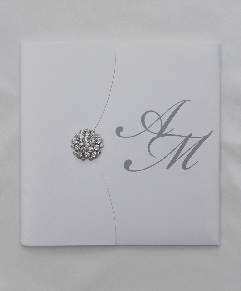 Bespoke Silver Brooch Wedding Invitation-0